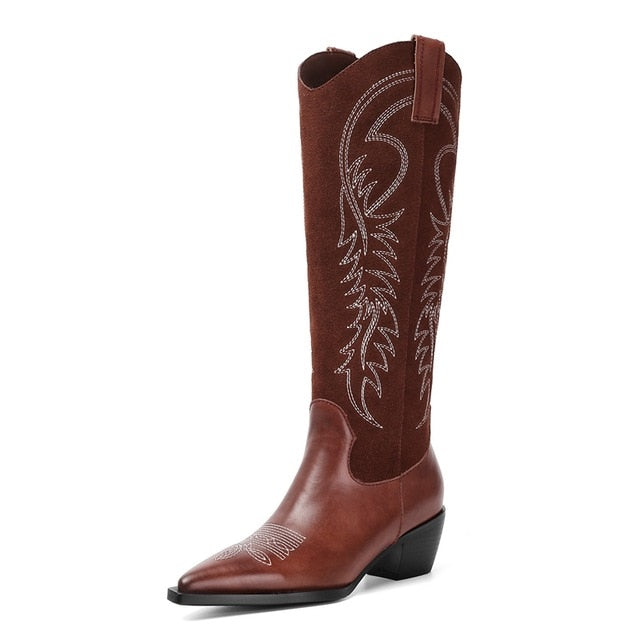 Western Cowboy Boots for Women Pointy Toe Cowgirl Boots Square Heels Knee High Boots Retro Women Shoes 2019 New womens boots