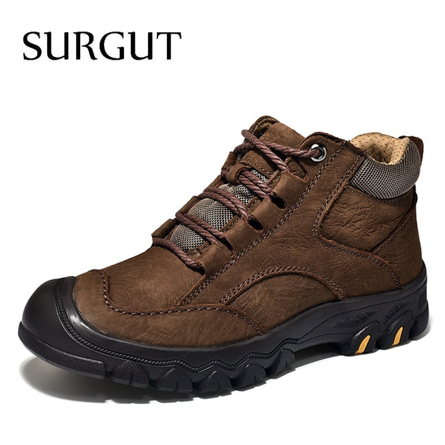 SURGUT Winter Military Tactical Boots For Men Leather Outdoors Round Toe Sneakers Men Combat Desert Casual Shoes Plus Size 38-46