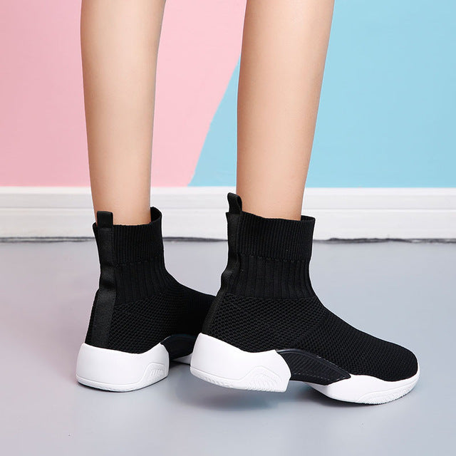CAMTOO Platform Sneakers Shoes Woman 2019 High Top Female Fashion Casual White Shoes Slip on Sock Sneakes Flat Zapatillas Mujer