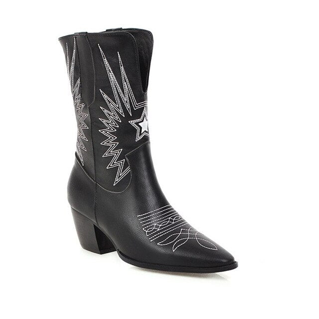 Western Boots Women Autumn Winter Embossed Slip On Solid Color Basic Boots Pointy Toe Cowboy Cowgirl Motorcycle Boots for Female