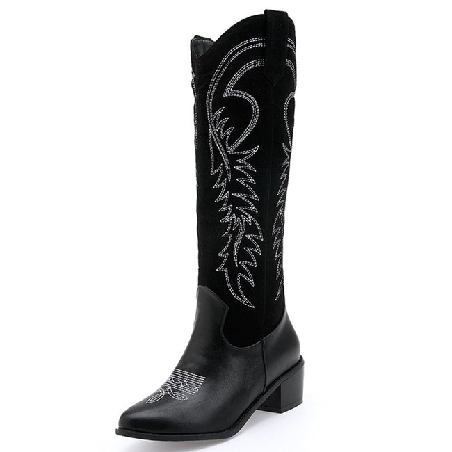 JAYCOSIN Women's Boots Low-heele  Square Head Fashion Women's Low-heele  Square Head  Embroidered  Western Rodeo Cowboy  Boots