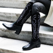 Fashion Women Boots Warm Low-heele Square Head Embroidered Western Rodeo Cowboy Boots Female Sexy Snow Shoes #907