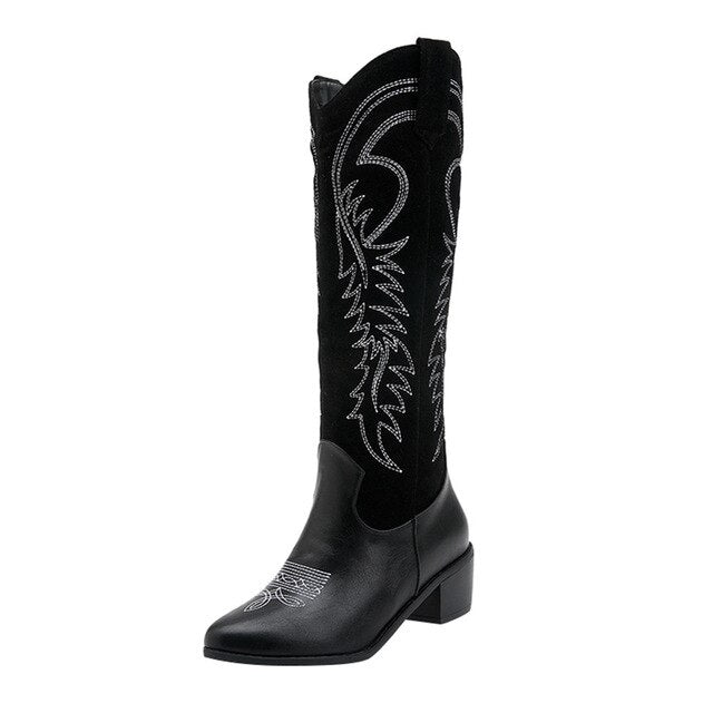 Stylish Women Western Boots Autumn Vintage Long Tube Knight Boot Female Embroider High Heel Leather Shoes Knee-High Cowboy Boots