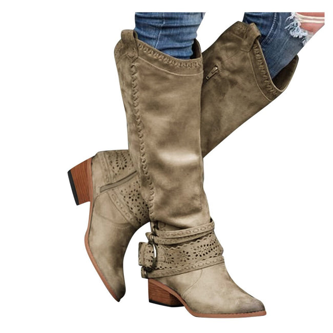 Vintage Women's knee high boots Winter Western Fashion Low-heeled Buckle Casual Shoes Rodeo Zipper Comfy Boots bota feminina