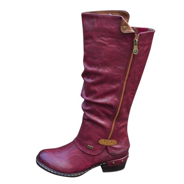 Fashion Western Style Boots Women Cowboy Riding Boots Casual Knee Middle Tube Boots Vintage Sider Zipper Botines Mujer 2019