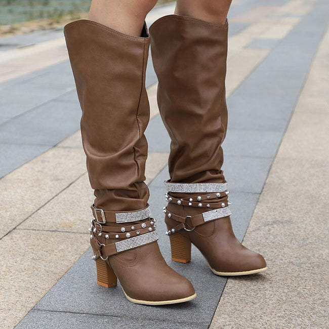2019 Women Motorcycle Boots Rivet Stylish Winter Leather Boot Long Tube Buckle Strap Knight Shoes High Heel Retro Western Botas