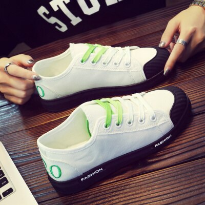 Women Shoes 2018 New Summer Autumn White Flats Lace Up Student Canvas Shoes Breathable Ladies Casual Shoes Women Sneakers