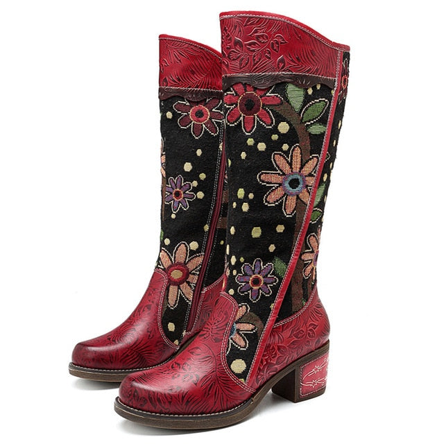 Socofy Vintage Patchwork Western Cowboy Boots Women Shoes Bohemian Genuine Leather Shoes Woman Mid-calf Boots Autumn Botas Mujer