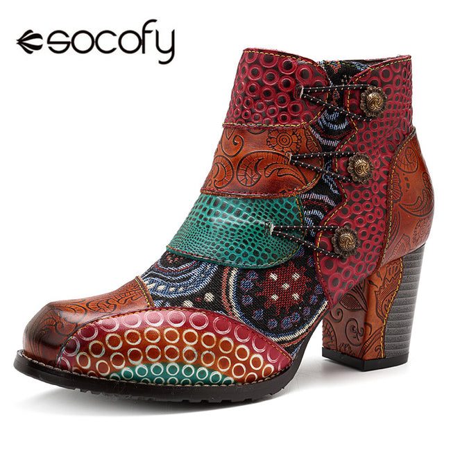 Socofy Vintage Splicing Printed Ankle Boots For Women Shoes Woman Genuine Leather Retro Block High Heels Women Boots 2019 New