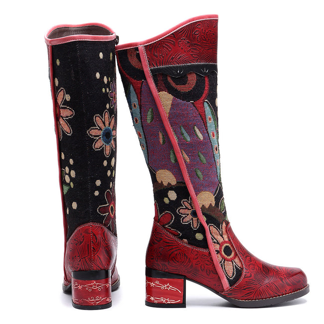 Johnature Knee High Boots 2019 New Genuine Leather Ankle Boots for Women Spring Autumn Ladies Shoes Woman Flower Bohemia Booties