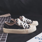 Sneaker Women Canvas Shoes Vulcanized 2019 New Lady Casual Shoes Lace Up Flat Heel Mixed Color Spring Autumn Good Quality 35-40