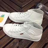 New 2018 Spring Autumn Fashion White Leather Trainers Sneakers Women Casual Shoes Black Breathable High Top Women Sneakers