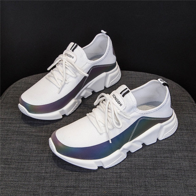 CAMTOO Colorful Reflection Women Sneakers Breathable Casual Shoes Ladies Comfortable Lace Up Leisure Flats Footwears 35-43