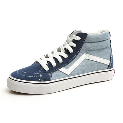Spring Women Canvas Shoes Denim Blue High Top Lady Casual Shoes
