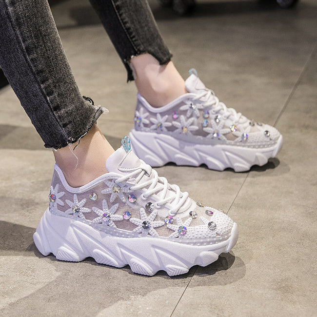CAMTOO 2019 Fashion Women luxury Diamond Flats Hollow Casual Shoes Female Platform Sneakers Breathable Mesh Girl White Shoes