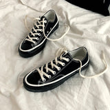 Chic Classic Canvas Shoes Unisex All Black Cloth Shoes for Lovers Woman Man Sneakers Lace Up High Top Stylish Shoe Size 35-44