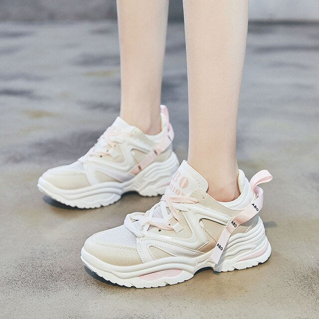 CAMTOO New Casual Women's Sneakers Mixed Color Lace Up Platform Shoes Woman Thick Soled Vulcanize Shoes Comfortable Footwear