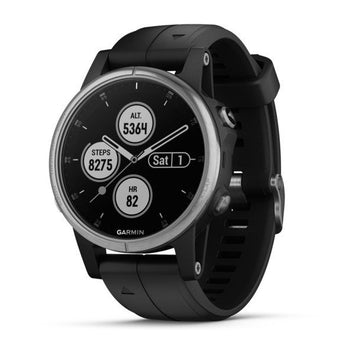 Garmin fenix 5S Plus Silver w/Black Band  (Newly Overhauled)