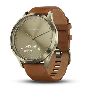 Garmin vívomove® HR Gold Tone with Light Brown Leather Band (Newly Overhauled)