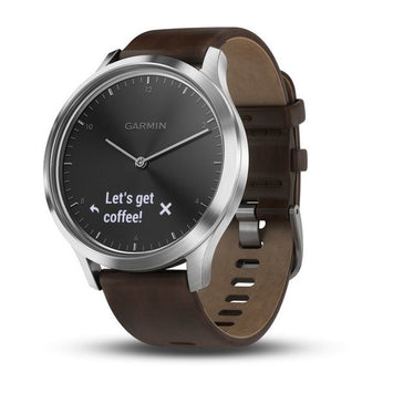 Garmin vívomove® HR Silver Tone with Dark Brown Leather Band (Newly Overhauled)