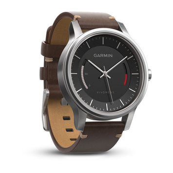 Garmin vívomove® Premium,Stainless Steel with Leather Band (Newly Overhauled)