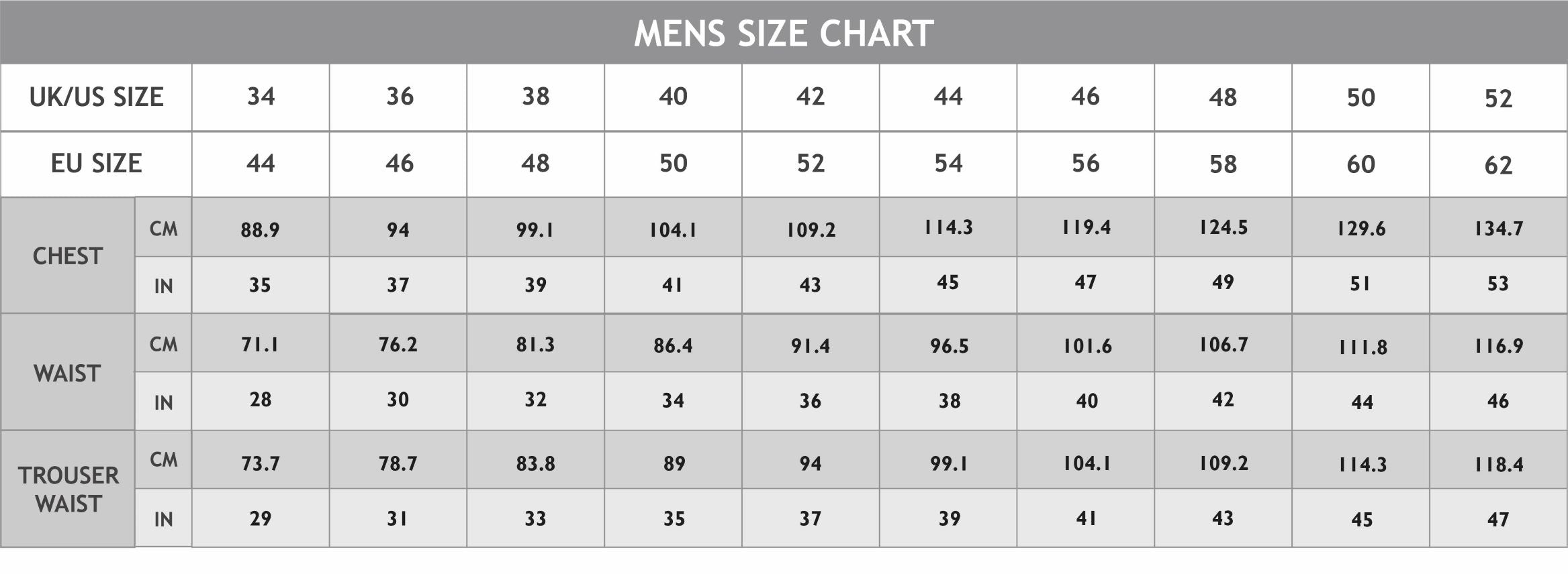 Mens Spa Size Chart
