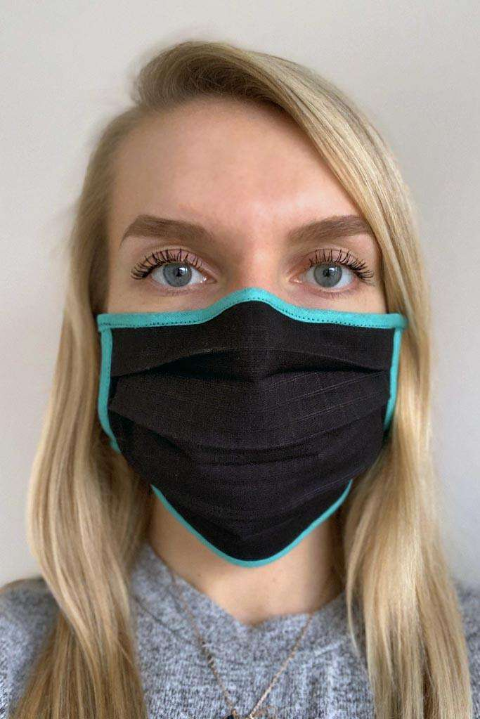 Black and Turquoise Cotton Face Mask