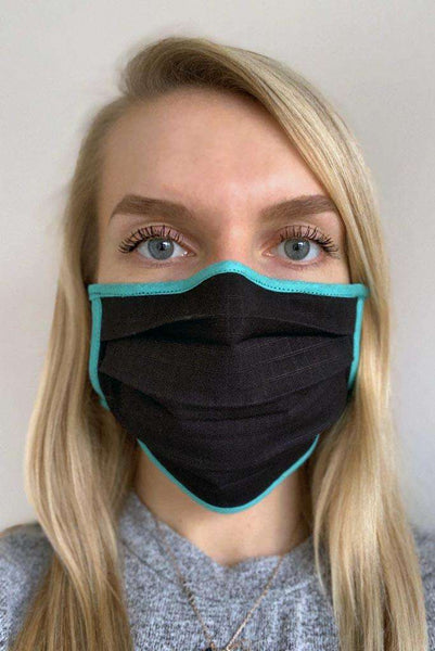 Black and Turquoise Pleated Wellness Face Mask - Fashionizer Spa