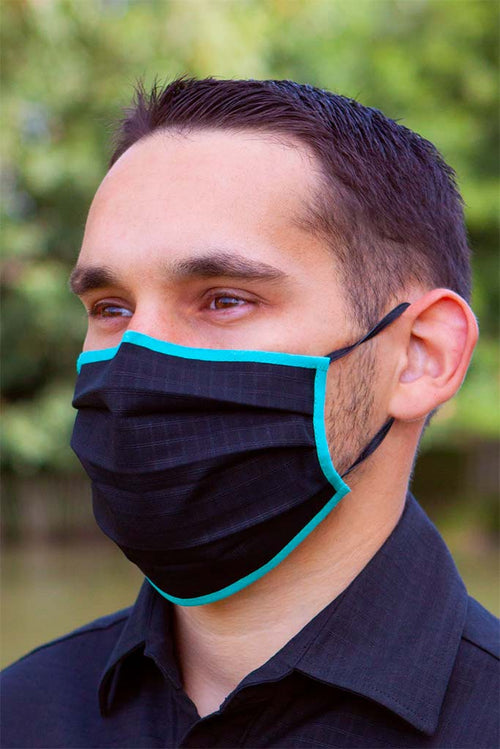 Black and Turquoise Pleated Wellness Face Mask