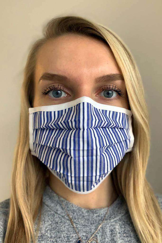 Beachy Blues Striped Fashion Face Mask - Fashionizer Spa