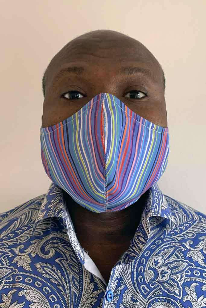 Coloured Striped Mens Fashion Face Mask - Fashionizer Spa