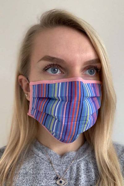 Coloured Striped Womens Pleated Fashion Face Mask - Fashionizer Spa