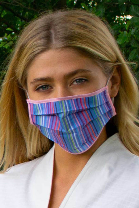 Grey and Pink Pleated Wellness Face Mask