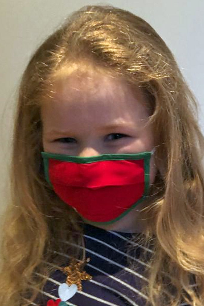 Kids red Christmas Face Mask