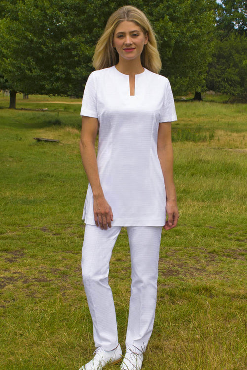 white cotton spa uniform