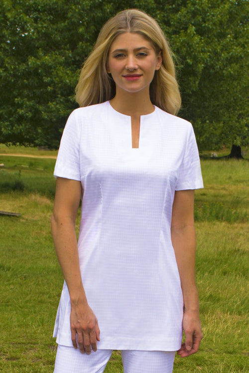 Womens White Organic Spa Uniform