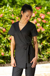 Womens Black spa wrap tunic