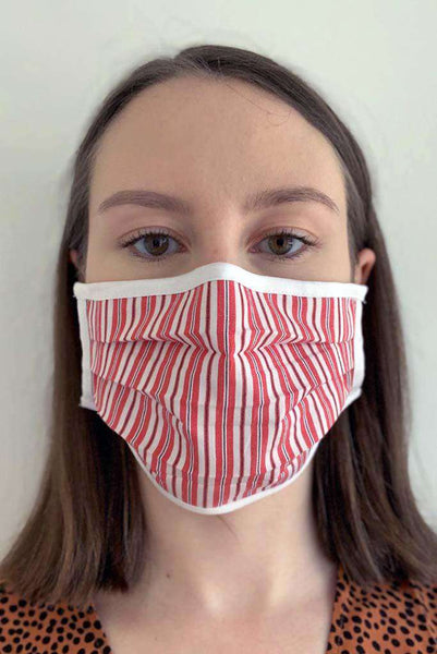Red Candy Striped Pleated Fashion Face Mask - Fashionizer Spa