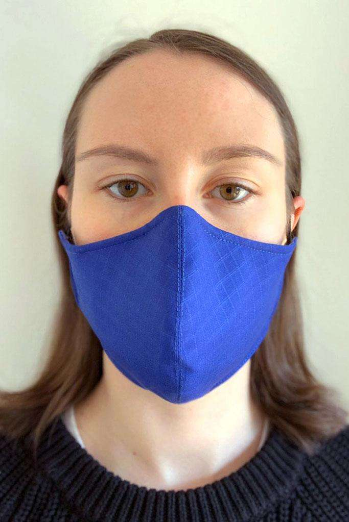 Blue cotton face covering