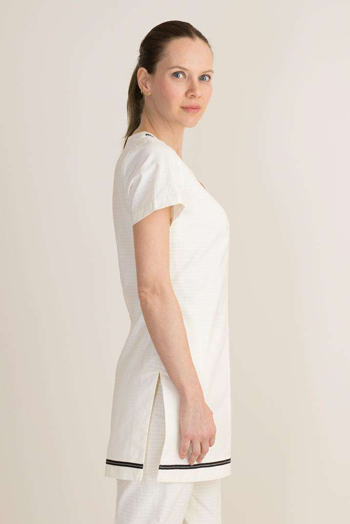 white tunic for aesthetician