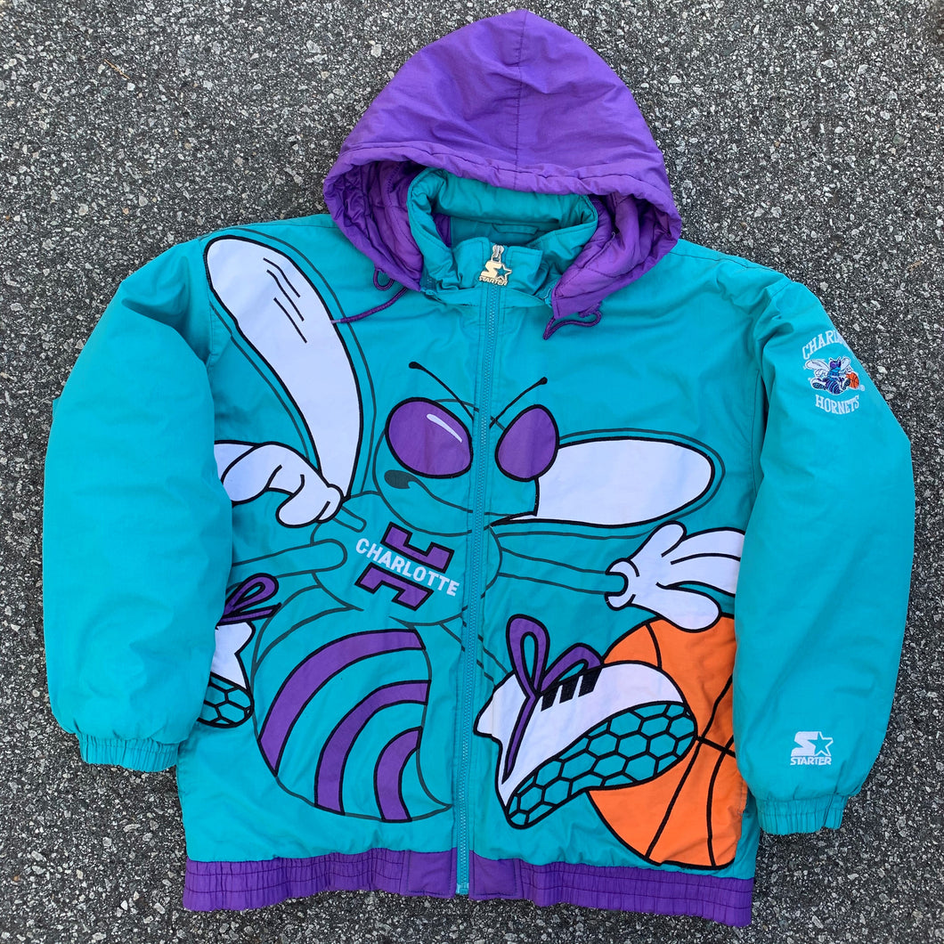 90's Charlotte Hornets Big Logo Starter Jacket (As seen on J.Cole)-Locker Room Clt