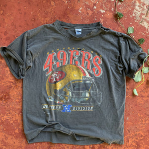 90's San Francisco 49ers Faded & Thrashed Vintage Tee-Locker Room Clt