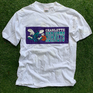 80's Charlotte Hornets Vintage NBA Tee (Large)-Locker Room Clt