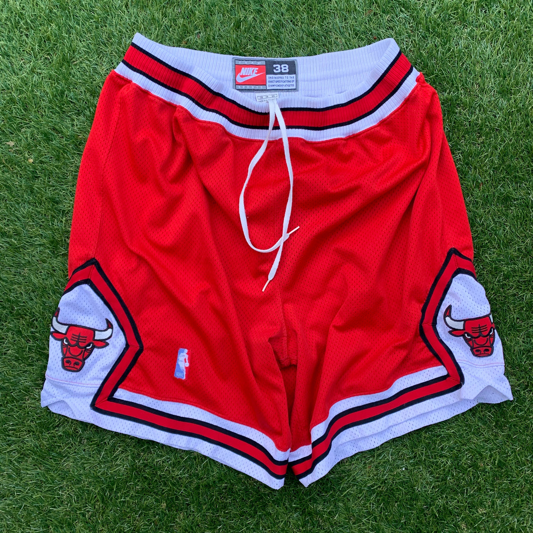 1997/98 Chicago Bulls Heavy Mesh Authentic Road Red NBA Shorts by Nike-Locker Room Clt