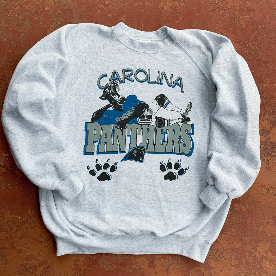 90's Carolina Panthers Paw Prints Vintage Crewneck (XL)-Locker Room Clt