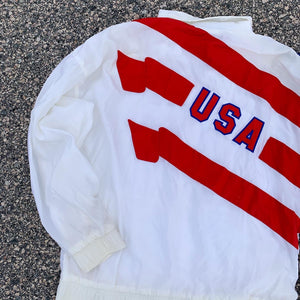 80's Adidas USA Flag Windbreaker (Large)-Locker Room Clt
