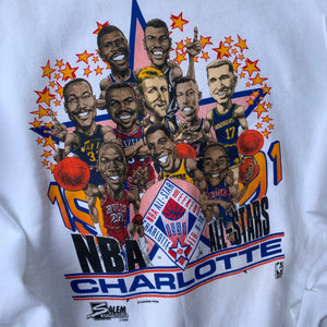 1991 Charlotte NBA All-Star Weekend Caricature Vintage Crewneck - Brand New-Locker Room Clt