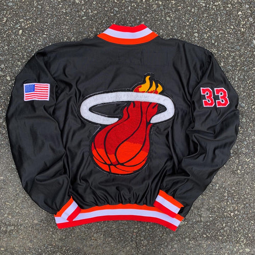 1990/1991 Miami Heat Team Issued Warm Up NBA Jacket by Champion (Large)-Locker Room Clt