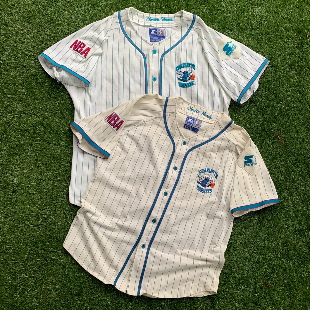 90's Charlotte Hornets Pinstriped Baseball Jersey by Starter-Locker Room Clt
