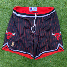 Load image into Gallery viewer, 1996/1997 Chicago Bulls Pinstriped 50th Anniversary NBA Shorts by Champion-Locker Room Clt